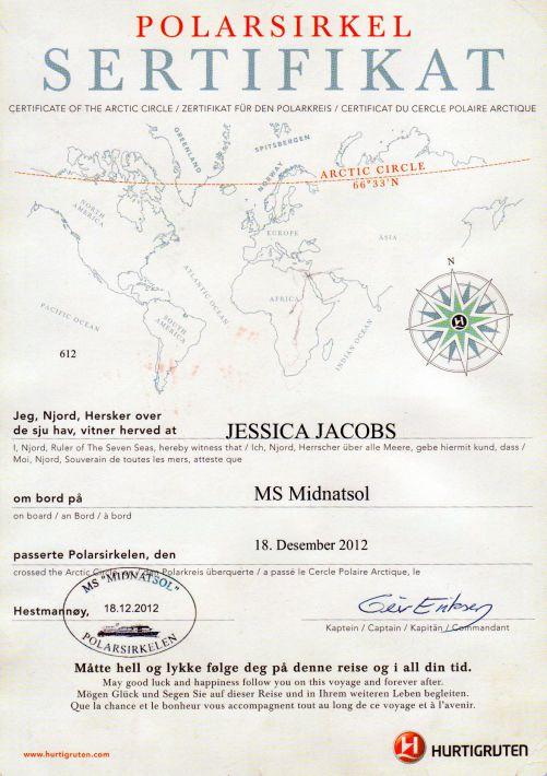 Crossing Arctic Circle Hurtigruten certificate