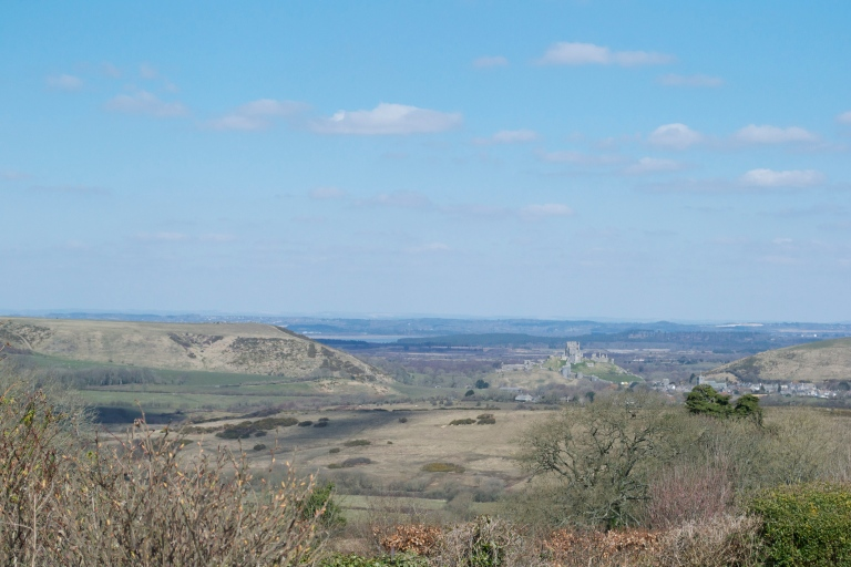 Spring view over the valley; Corfe Castle is in the centre, and you can just about see the railway line.